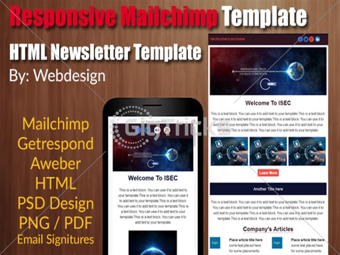 Gigtricks Online Entrepreneur Marketplace Freelance Outsourcing - Mailchimp psd template
